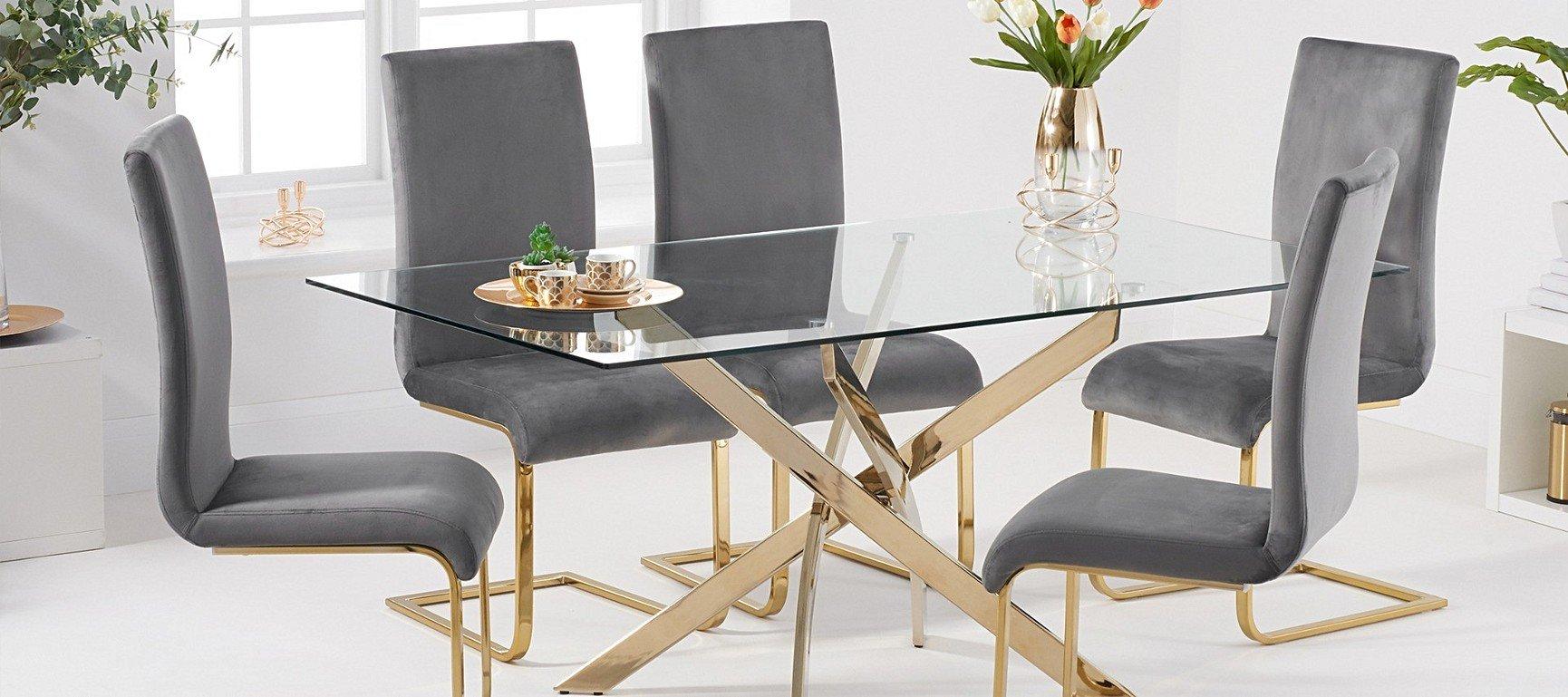 Picture of: Denver 160cm Rectangular Glass Gold Leg Dining Table