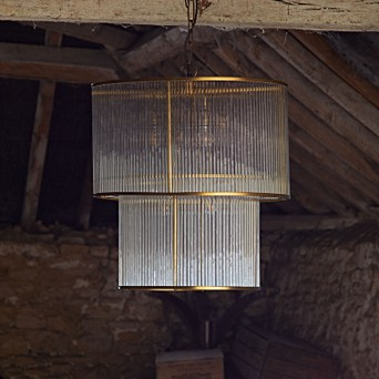 pretty nice 47cf2 ae70d Loki two tiered oval chandelier in brass with glass rods
