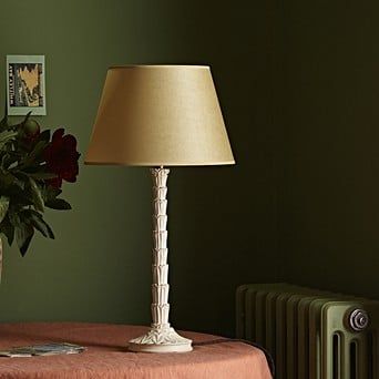 Wood Finish Cream Shade Table Lamps