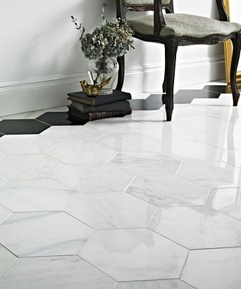 Misty Fjord Hexagon Polished Marble
