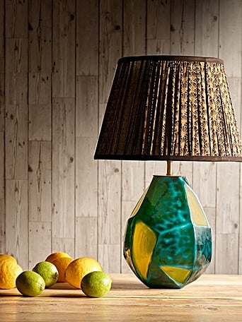 large glass ball shaped table lamp with