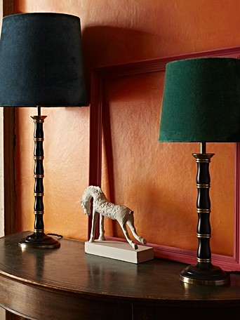 NEW Brass & Grey Small Bedside Lamp