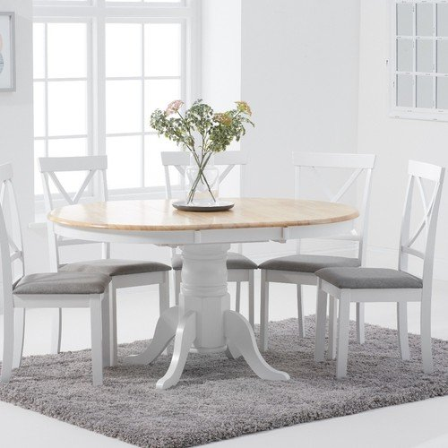 White Round Pedestal Extending Table, Round Extendable Dining Table Set Grey