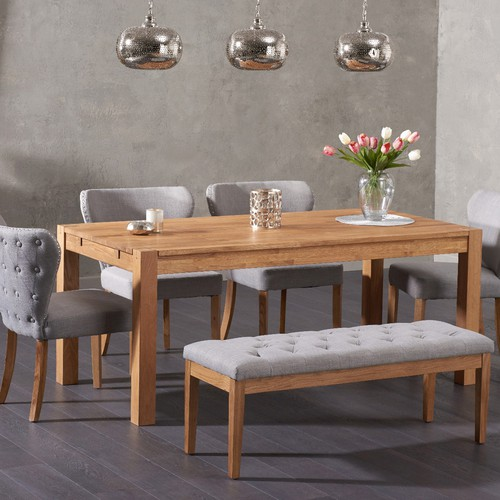 Verona 150cm Solid Oak Dining Table With Isobel Fabric