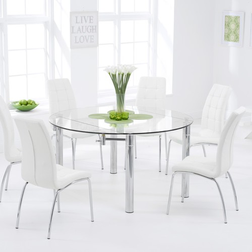 Melbourne 145cm Round Glass Extending Dining Table With