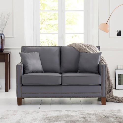 Cheapest Leather Sofas Uk: Aston Grey Leather 2 Seater Sofa