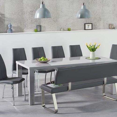 Atlanta 200cm Light Grey High Gloss Dining Table With