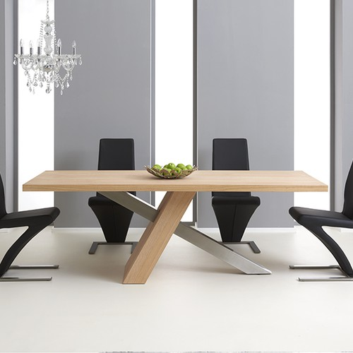 Modanuvo White Black Gloss Oak Extending Storage Coffee: Chateau 195cm Oak And Metal Dining Table With Hampstead Chairs