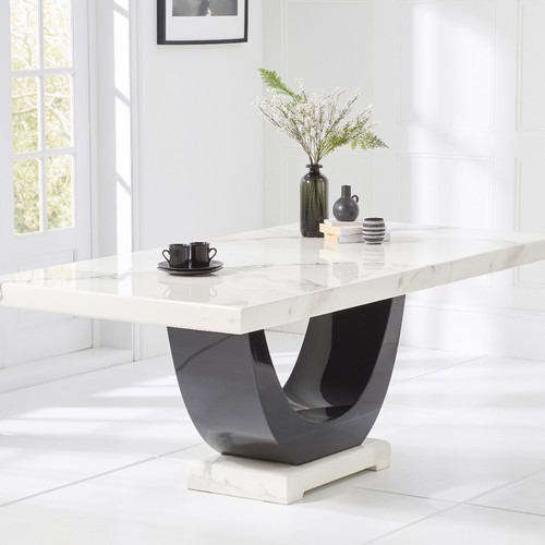 Modanuvo White Black Gloss Oak Extending Storage Coffee: Raphael 170cm White And Black Pedestal Marble Dining Table
