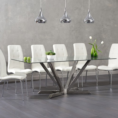 The Reno 200cm Glass Dining Table With Calgary Chairs Has A Steel Pedestal Base Supporting Thick Tempered Top This Large