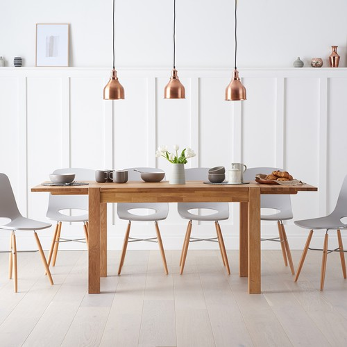 Verona 120cm Solid Oak Extending Dining Table With Nordic Wooden Leg Chairs