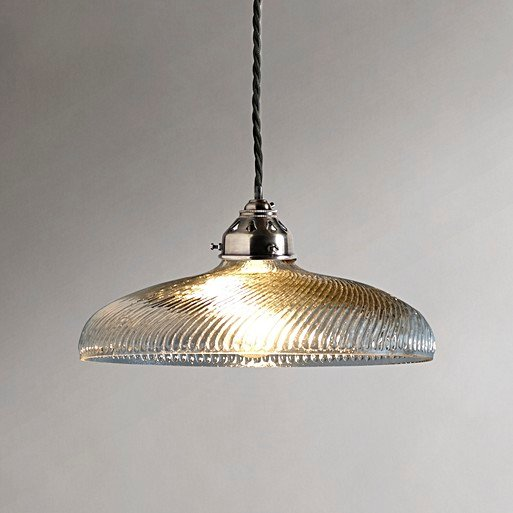 Swirly Pendant Light In Clear Blown Glass With A Classic Kit Antiqued Silver