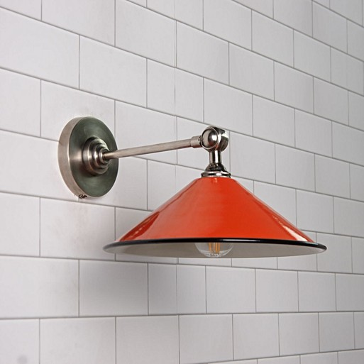 Coolie hat wall light in burnt orange with a stone interior with smaller coolie hat wall light in burnt orange with a stone interior with elbow wall fitting in antiqued silver aloadofball Choice Image