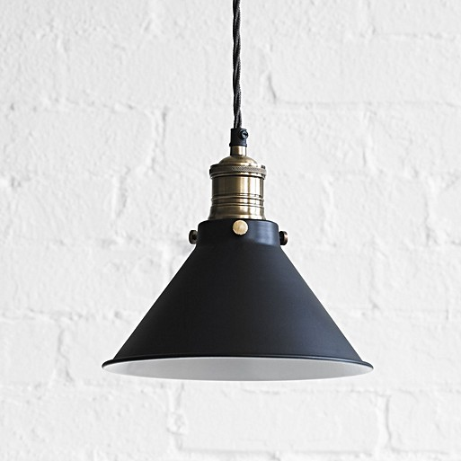 Smaller dexter pendant light in ash black with white interior aloadofball Image collections