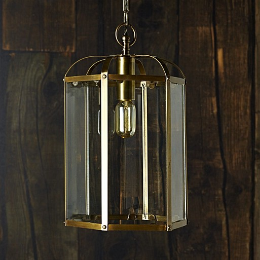 Woody Lantern Pendant In Brass
