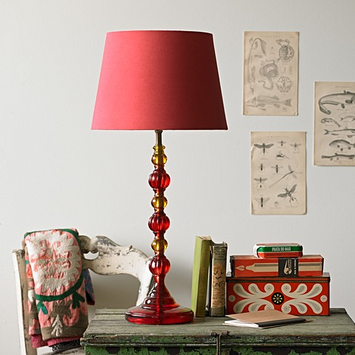 Lucas Table Lamp In Red And Orange Resin Lamps