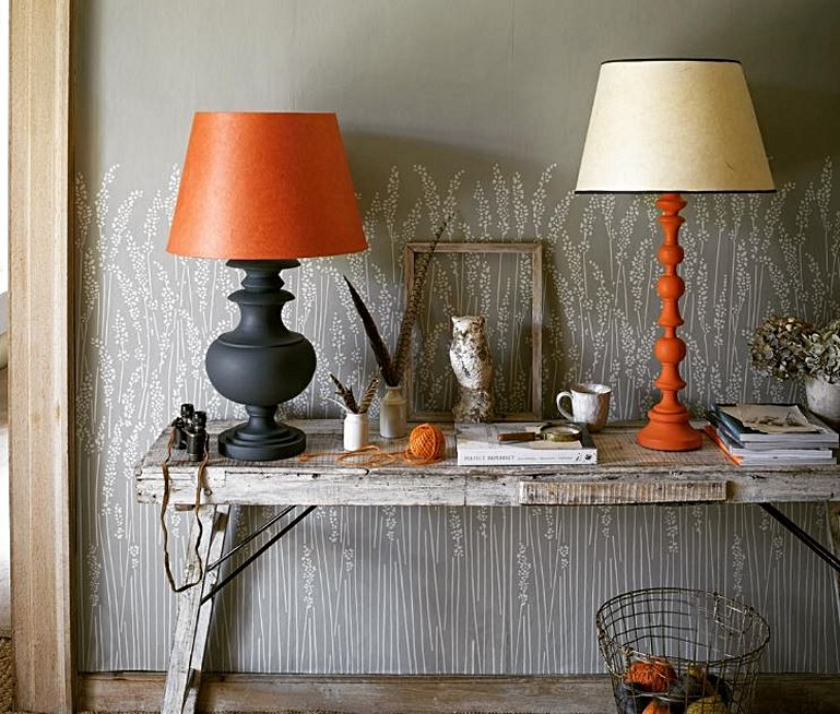 Using table lamps for accent colour where pooky meets farrow ball