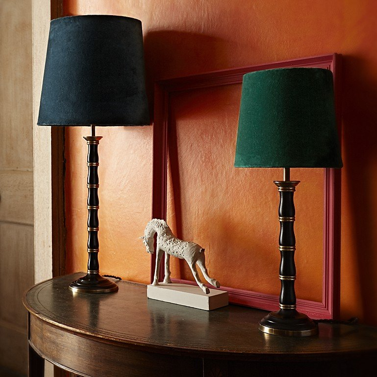 Sleek contemporary brass table lamps