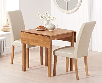 Oxford 70cm Solid Oak Extending Dining Table With Albany Cream Chairs