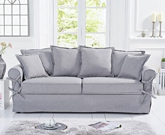 Clement Grey Linen 3 Seater Sofa