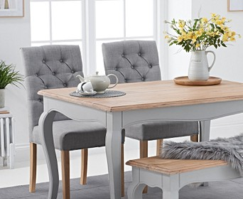 Parisian 130cm Grey Shabby Chic Dining Table With Claudia Grey Fabric Chairs And Bench
