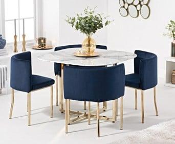 Algarve White Marble Gold Leg Stowaway Dining Table With Blue Velvet Gold Leg High Back Stools Dining Sets