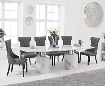 Antonio 260cm White Marble Dining Table With Freya Chairs