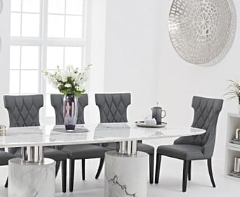Antonio 260cm White Marble Dining Table With Freya Chairs Antonio