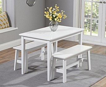 Chiltern 115cm White Dining Set With Benches