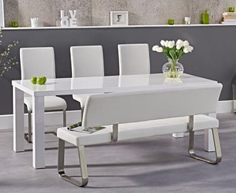 Atlanta 180cm White Table With Malaga Bench And Chairs