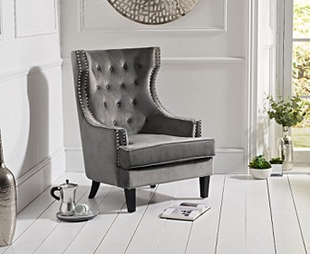 Accent Chairs.Penelope Grey Velvet Accent Chair