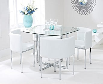 competitive price 300b9 94b36 Small Glass Dining Table & Chair Sets | Oak Furniture Superstore