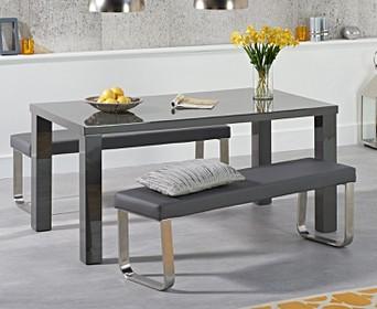 Atlanta 160cm Dark Grey High Gloss Dining Table With Atlanta Benches Atlanta