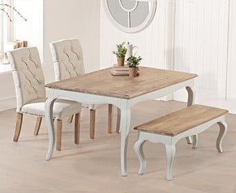 Parisian 130cm Shabby Chic Dining Table With Claudia Chairs And Bench