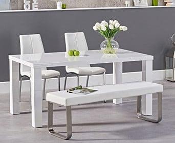 Atlanta 160cm White High Gloss Dining, White Dining Room Table Bench