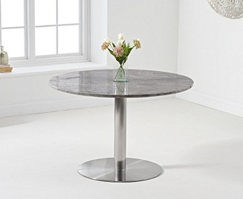 Bali 120cm Round Marble Grey Dining Table