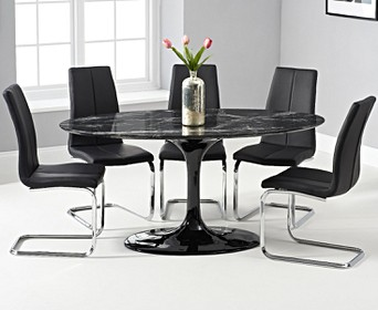 Brighton 160cm Oval Black Marble Dining Table With Tarin Dining Chairs