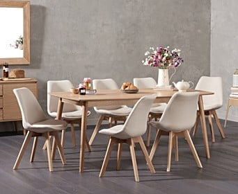 Nordic 150cm Oak Dining Table, Contemporary Oak Dining Room Chairs