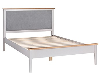 4d08fc8de49f Daniella Oak and Grey Double Bed Frame with Fabric Headboard