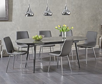 523832a0fdef Olivia Extending Grey High Gloss Dining Table with Helsinki Faux Leather  Chairs