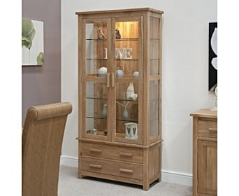 Rohan Oak And Gl Display Cabinet