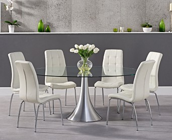 Paloma 180cm Oval Gl Dining Table With Calgary Chairs