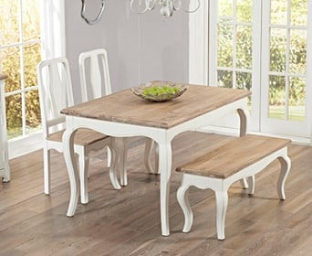 0d7d3a2156 Parisian 130cm Shabby Chic Table with Benches and Chairs