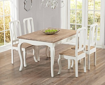 Parisian 130cm Shabby Chic Dining Table, White Shabby Chic Dining Room Sets