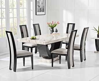 Black Pedestal Marble Dining Table