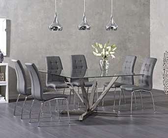 Reno Square Glass Dining Table With Calgary Chairs