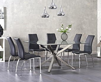 Bring Style And Sophistication To Your Dining Room With The Rio Square Glass Dining Table With Cavello Chairs This 4 Seater Contemporary Glass Dining Set Combines Faux Leather Dining Chairs With A Small