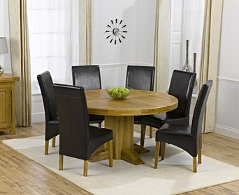 Torino 150cm Oak Round Pedestal Table With Cannes Chairs