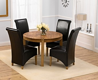 Verona 110cm Solid Oak Round Dining Table With Kentucky Chairs