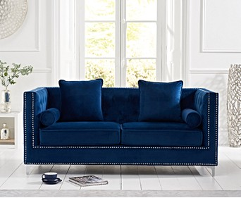 New York Blue Velvet 4 Seater Sofa